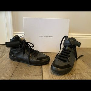 Isabel Marant high top black leather sneakers